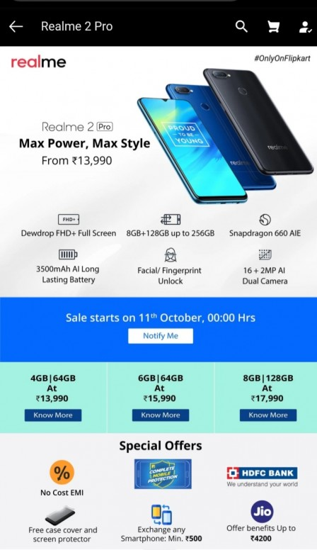 realme 2 pro sd 660 pross  4/64 13990 rs m only - Redmi Y2