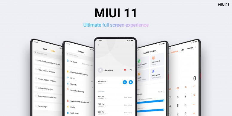 "MIUI 11's interface is built for the ""Ultimate full screen experience"""