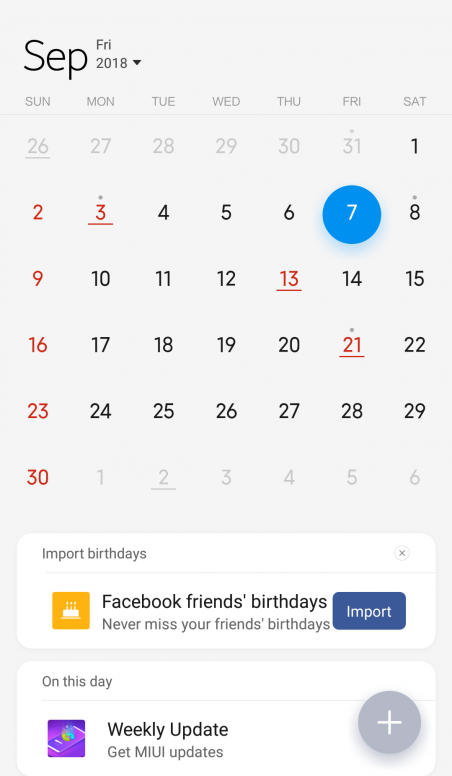 Calendario Xiaomi.Facebook Birthdays And Mi Calendar Mi 3 Mi 4 Mi