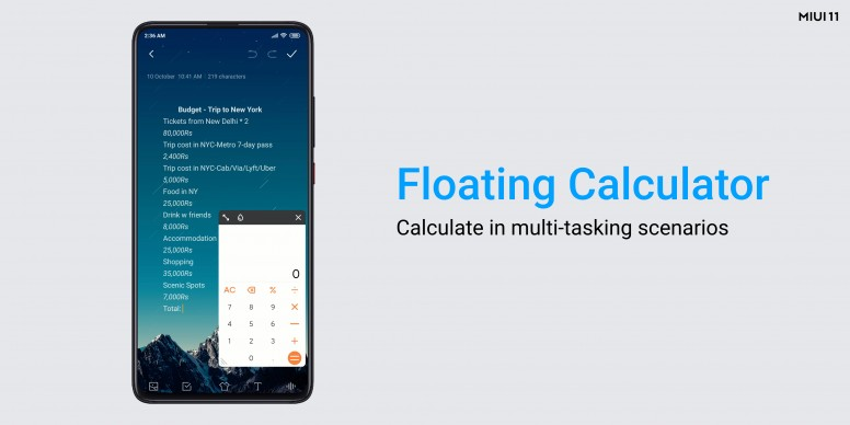 The Floating Calculator is much like a Picture-in-Picture(PIP) video player.