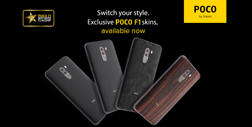 Switch Your Style: Exclusive POCO F1 Skins, available now at ₹299!
